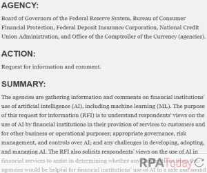 Financial Regulators Seek Industry Comment on AI, Automation
